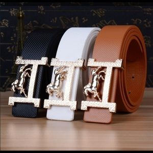 Bundle of Seven Belts in Different Colors.